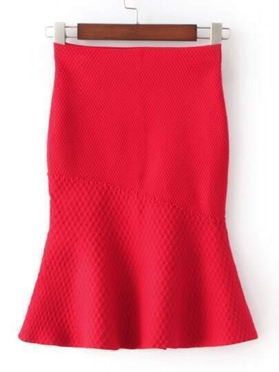 Red High Waist Fishtail Skirt