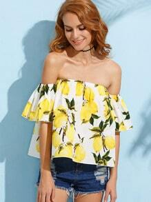 Yellow Lemon Print Off The Shoulder Blouse
