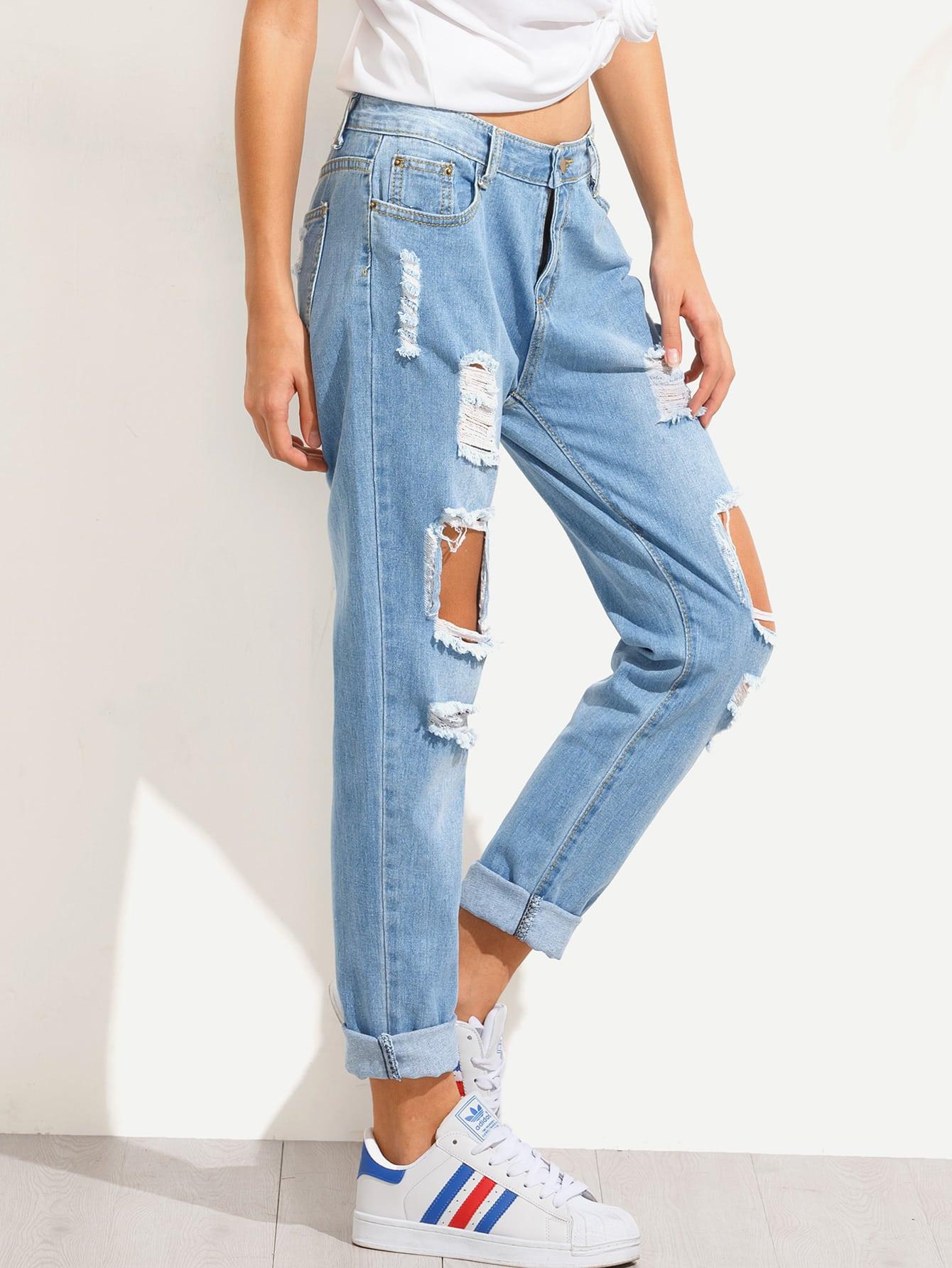 blue distressed boyfriend jeans shein sheinside. Black Bedroom Furniture Sets. Home Design Ideas