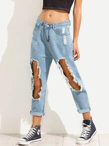 Blue Distressed Raw Hem Boyfriend Jeans