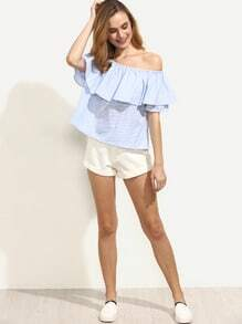 Blue Striped Ruffle Off The Shoulder Blouse