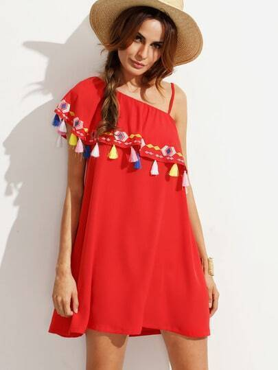 Red Embroidered Tassel Ruffle Dress