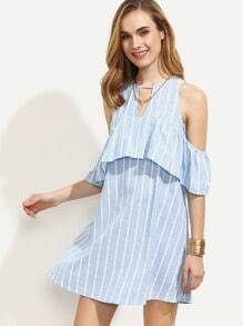 Blue Striped Cutout Ruffle Cold Shoulder Dress