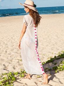 White Pom-pom Decorated Short Sleeve long Dress