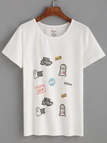 White Cartoon Print T-shirt