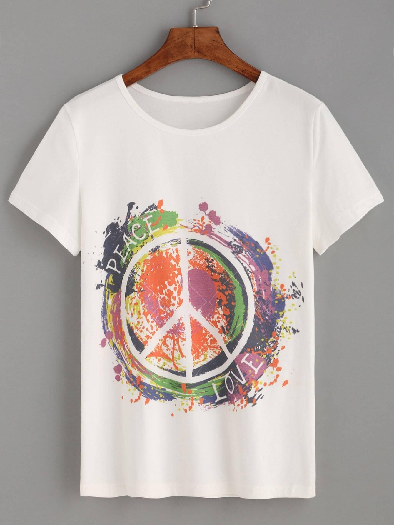 White tie dye print t shirt shein sheinside for Tie dye printed shirts