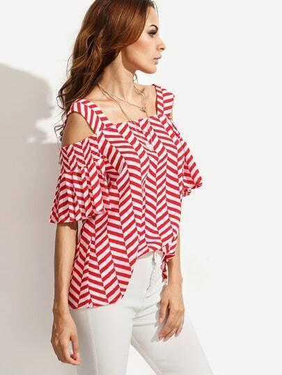Red Striped Cold Shoulder Blouse
