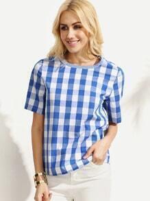 Blue Gingham Short Sleeve Blouse