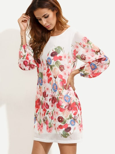 Multicolor Print Long Sleeve Dress