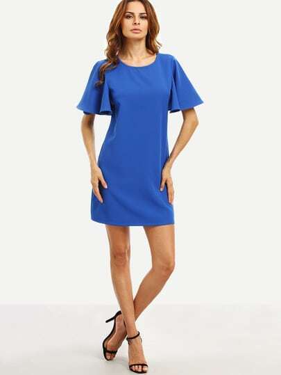 Royal Blue Ruffle Sleeve Dress