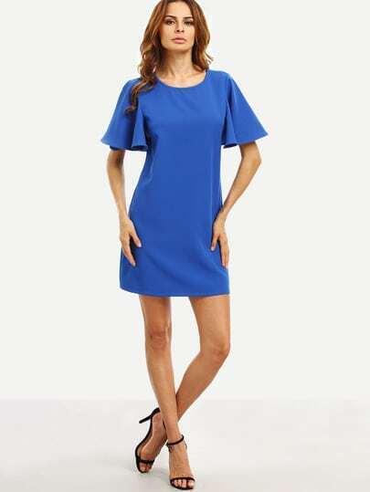Royal Blue Ruffle Sleeve Dress