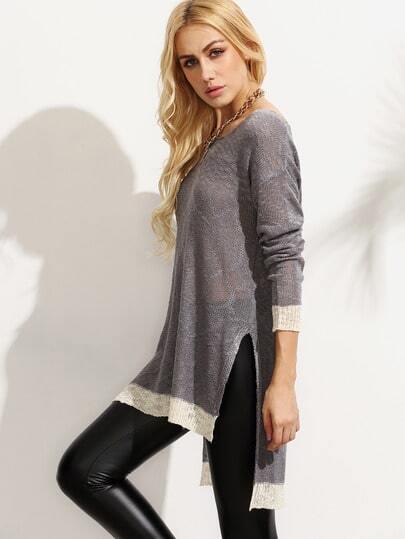 T-shirt en tricot fendu manche longue - gris