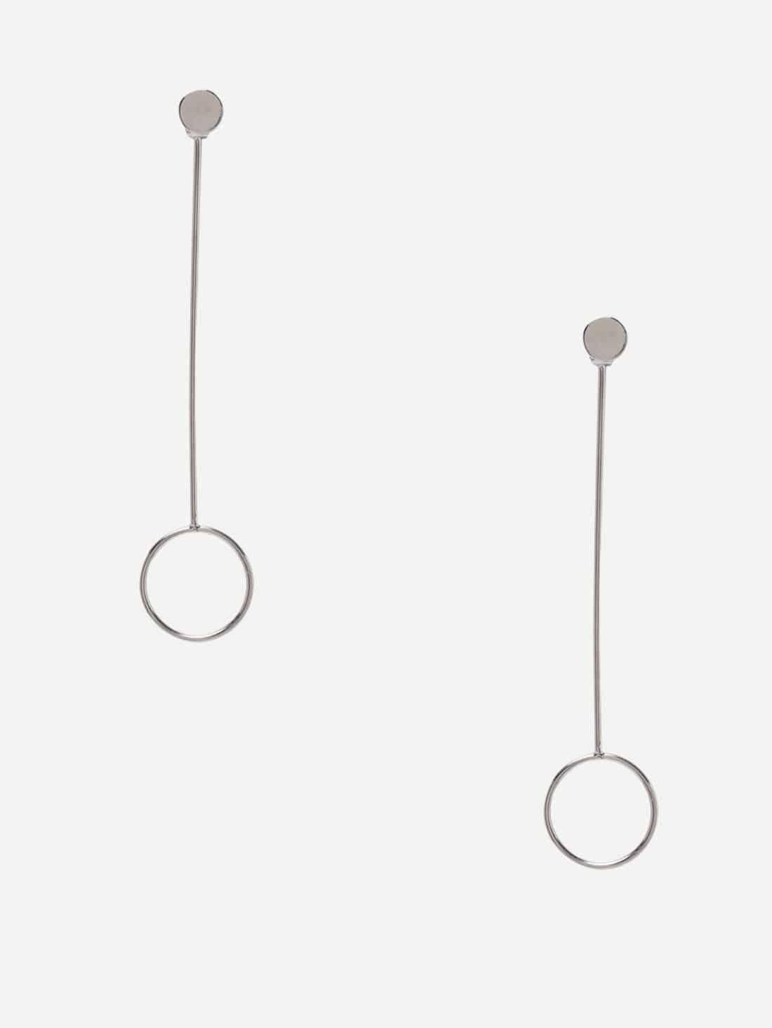 Silver Minimalist Circle Drop Earrings silver plated bar dangle drop earrings