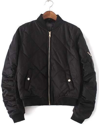 Black Crew Neck Rib-knit Cuff Pockets Jacket