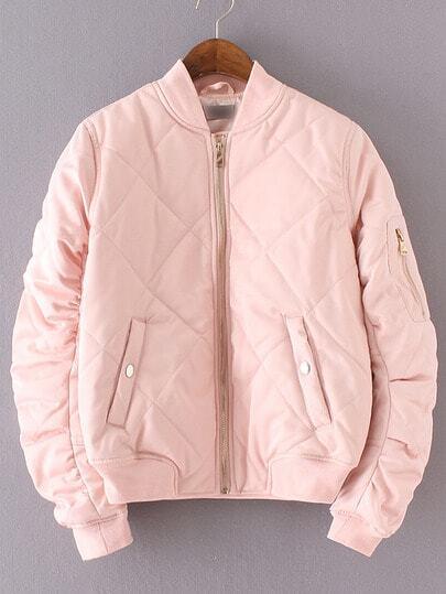 Pink Crew Neck Rib-knit Cuff Pockets Jacket