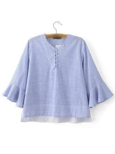 Blue Ruffle Sleeve High Low Stripe Blouse