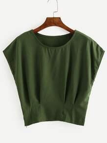Green Pleated Dolman Sleeve Blouse