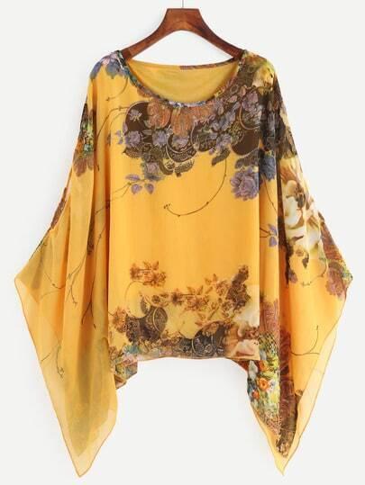 Yellow Random Floral Print Loose Chiffon Top