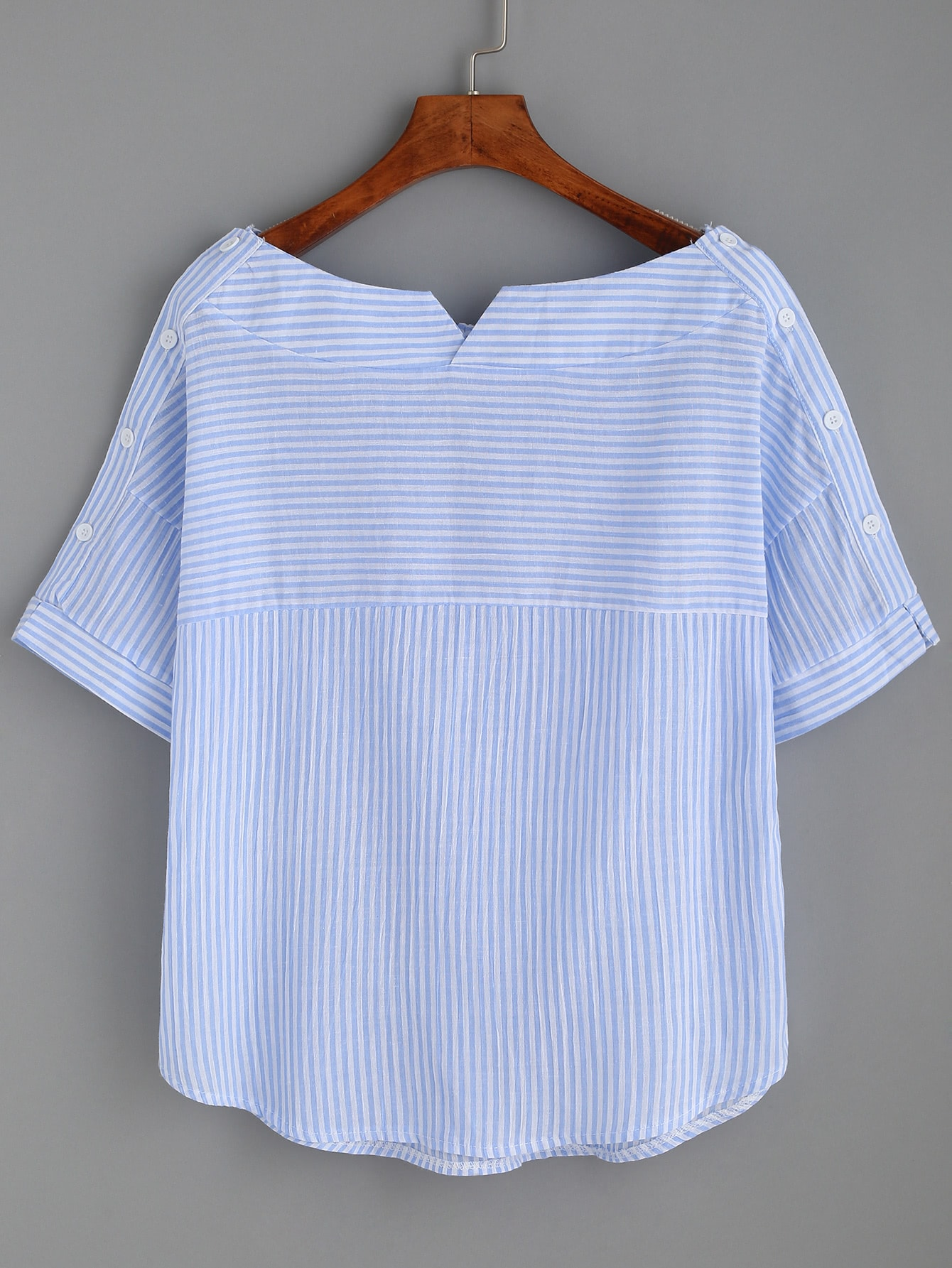 Striped Boat Neck Blouse With Buttons boat neckline striped blouse with buttons