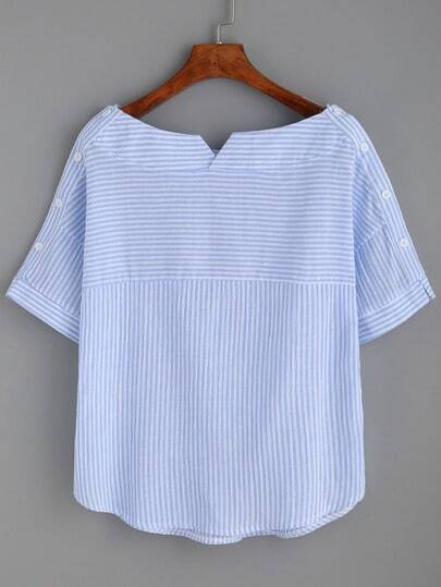 Striped Boat Neck Blouse With Buttons