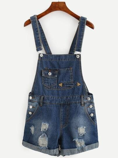 Blue Ripped Cuffed Denim Overalls With Pockets