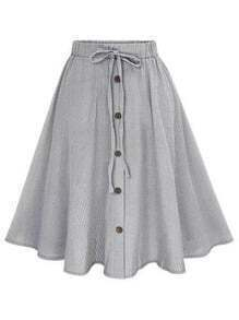 Black Vertical Striped Buttoned Front Skirt