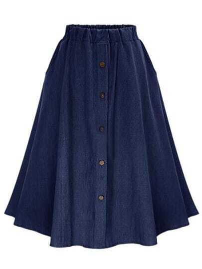 navy elastic waist denim flare skirt with buttons shein