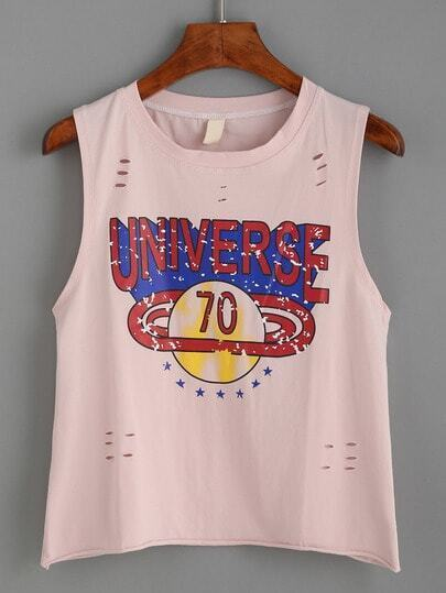 Pink Letters Print Ripped Tank Top