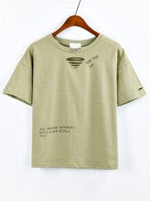Olive Green Letter Print Ripped T-shirt