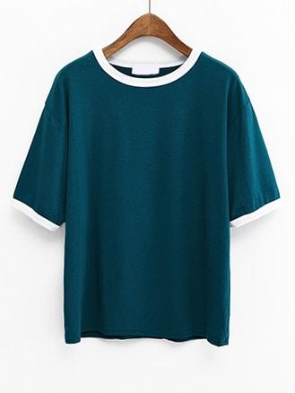 Green Contrast Trim Drop Shoulder T-shirtGreen Contrast Trim Drop Shoulder T-shirt<br><br>color: Green<br>size: one-size