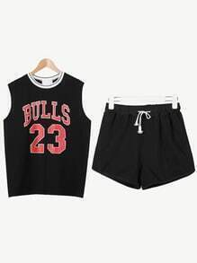 Black Basketball Tank Top With Drawstring Shorts