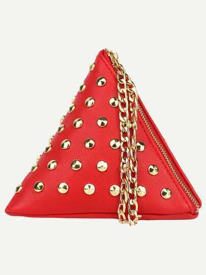 Red Studded Triangle Chain Strap Wristlet