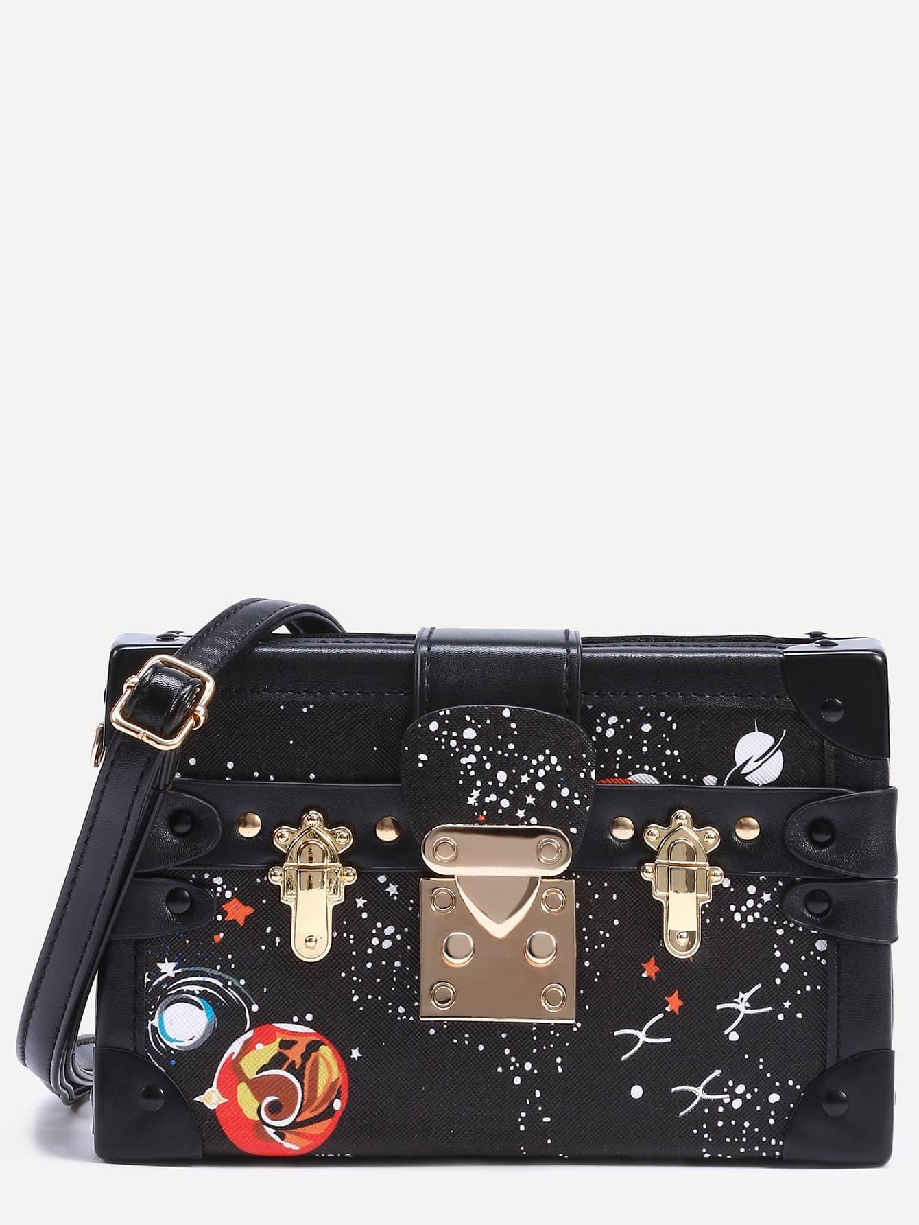 24f422d29bcfd Space Print Box Bag With Strap -SheIn(Sheinside)