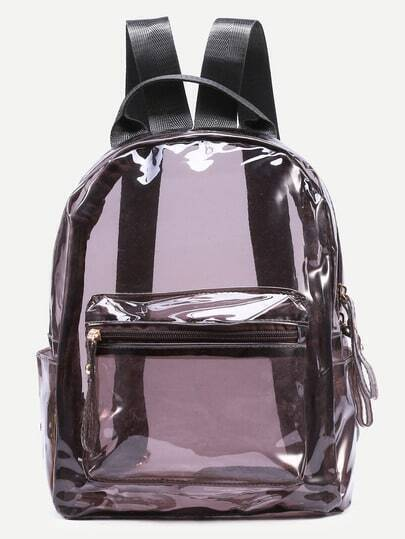 Brown Zip Pocket Front Clear Backpack