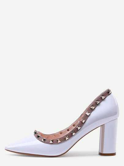 White Pointed Toe Studded Trim Chunky Pumps