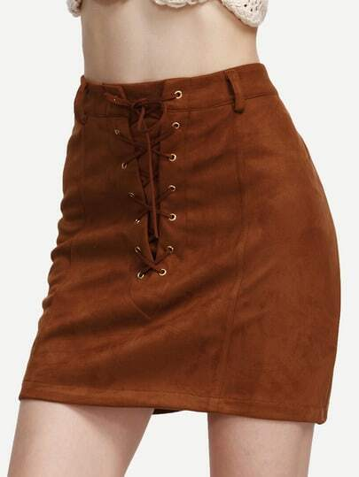 Camel Faux Suede Lace Up A Line Skirt