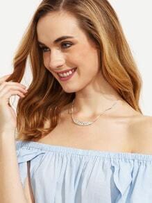 Silver Diamond Wheat Necklace