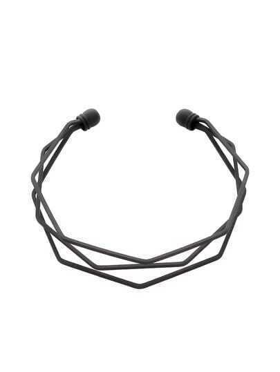 Black Multilayer Geometric Open Cuff Bracelet