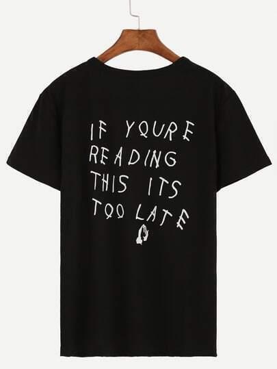 Black Sentence Print Drop Shoulder T-shirt