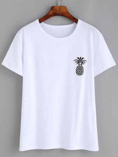 Pineapple Print Loose T-shirt