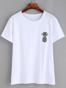 T-shirt imprimé ananas manche courte - blanc