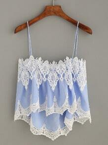 Blue Crochet Trim High Low Cami Top