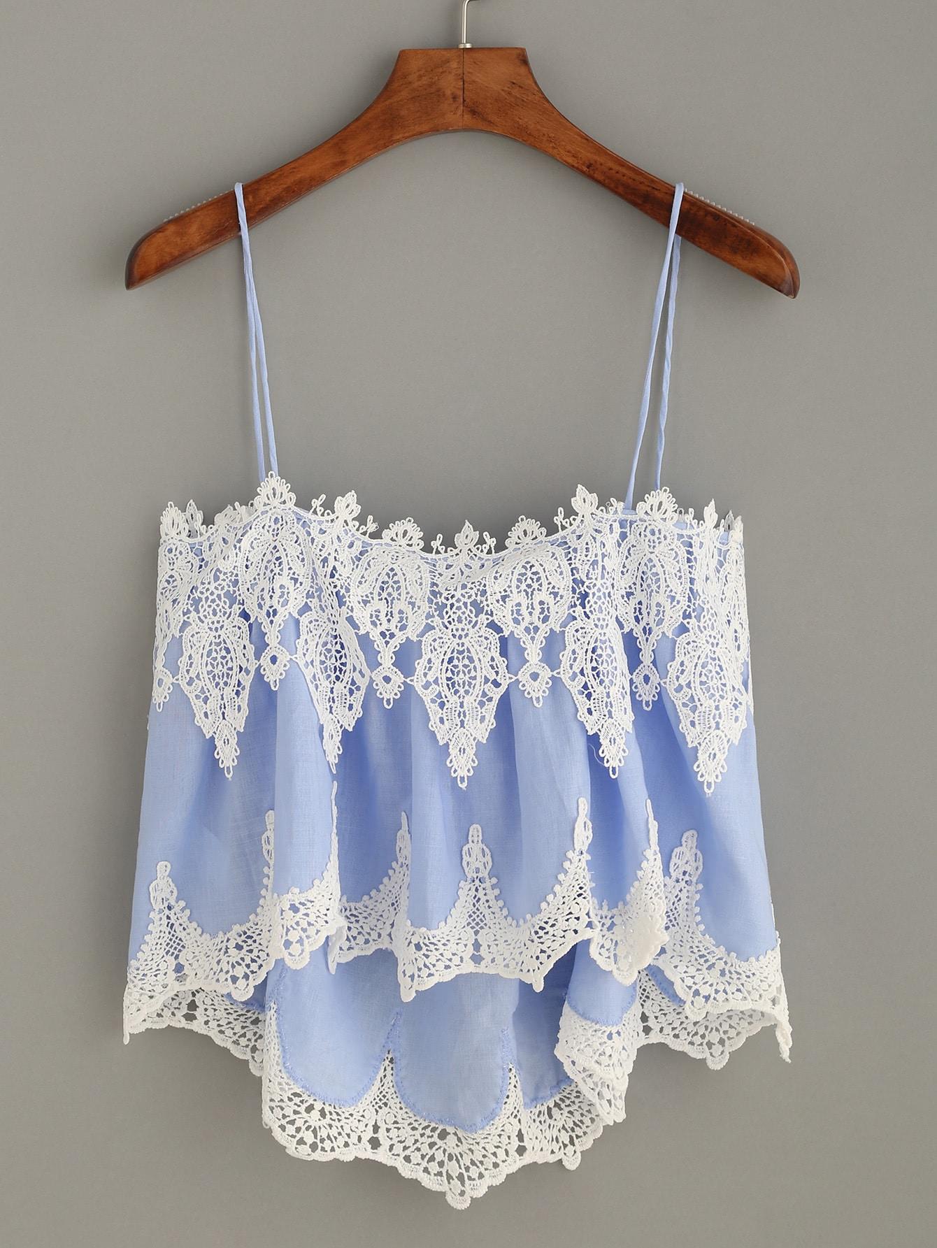 Фото Blue Crochet Trim High Low Cami Top. Купить с доставкой