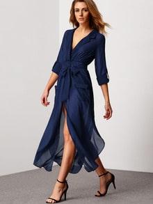Royal Blue Deep V Neck Self-Tie Pockets Chiffon Dress