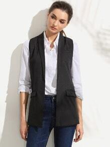 Black Shawl Lapel Sleeveless Blazer