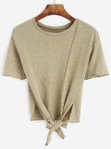 Army Green Knotted Hem T-shirt