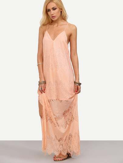 Pink Spaghetti Strap Split Lace Maxi Dress