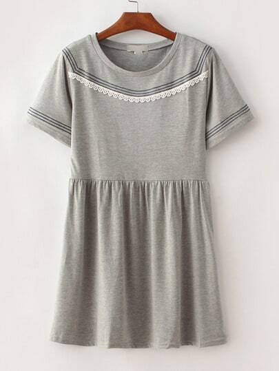 Grey Stripe Trim Crochet Shift Dress