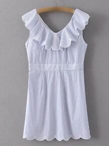 Blue Sleeveless V Neck Stripe Scallop Dress