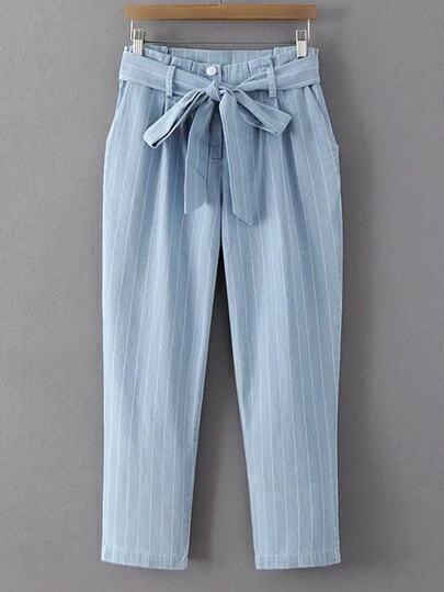 Blue Stripe Zipper Pockets Cropped Pants With Belt